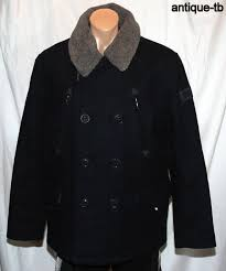 superdry merchant pea coat mens m murdoch navy wool ms5fr130 japan britain