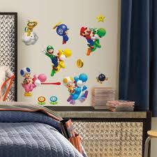 Mario Bedroom Decor Nintendo Super Mario Bros Wii Peel And Stick 35 Piece Wall