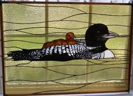 Lovely Loon Stained Glass with Etched Details | & Loon Etch- Stained Glass Fin -Design © Paned Expressions Studios 2003  Fabrication - Talmadge Adamdwight.com