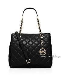 Michael Kors Susannah Small Quilted Tote Handbag 30h5saht1l Black ... & $189.99 Adamdwight.com