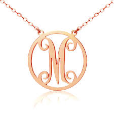 solid rose gold 18ct single initial circle monogram necklace name my jewellery
