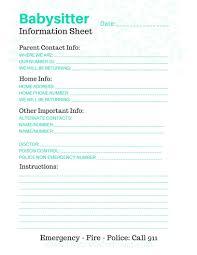 babysitter information sheet printable free printable babysitter info sheet the travelers nest