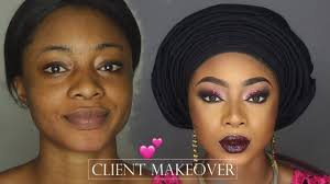 client makeup and gele transformation nigerian traditional wedding makeup tutorial woc