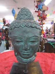 Buddha Head Decor Funky Stuff Rustic Antique Finish Concrete Buddha Head On Stand
