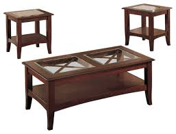 wooden 3 piece table set with glass top