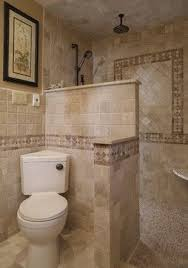 showers without doors or curtains | Walk in Shower - mediterranean -  bathroom - philadelphia -