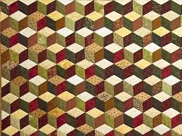 34 best Tumbling Block Quilts images on Pinterest | Block quilt ... & Green Gold and Red Tumbling Blocks Quilt Adamdwight.com