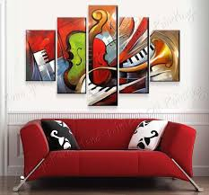 Small Picture 100 Hand Painted Abstract Music Paintings Wall Art 5 Panel Canvas