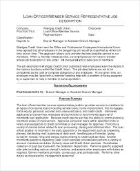 loan officer service representative job description loan officer assistant job description