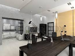 modern interior office stock. Interior Of The Modern Office 3D Rendering, Stock Photo E