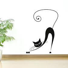 cat wall art bending yawn cat wall stickers baby bedroom wall decor art vinyl animal wall cat wall art