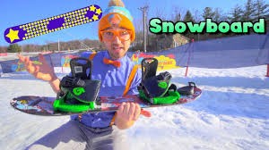 Blippi Learns How to Snowboard | <b>Winter Outdoor</b> Activities for ...