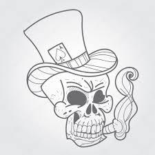 туз черный череп с сигарой и туз пик черный и белый эскиз