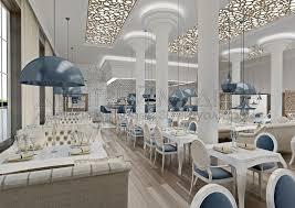 Дизайн проект ресторана prosecco МШД Большой зал ресторана Вид от vip зоны на барную стойку