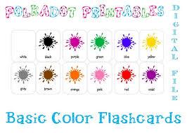 Red, yellow, blue, green, pink, orange, violet. Printable Basic Color Paint Splash Flashcards Set Of 12 Etsy