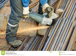 worker cutting rebar by grinding machine rebar worker
