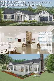 architectural designs house plan 64449sc is a modern farmhouse ranch with vaulted interior and expansion e23 interior