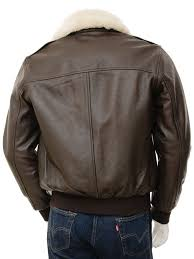 mens leather flight jacket in brown bolberry back