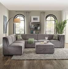 gray velvet sectional. Plain Sectional 6PCS BOIS GRAY VELVET SECTIONAL SOFA 5378081 For Gray Velvet Sectional BestBuyFurnitureDirectcom