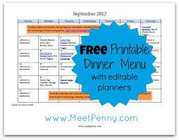 Free Printable September Menu With Editable Planners