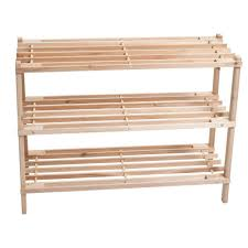 lavish home 3 tier blonde wood storage shoe rack 83 10 3