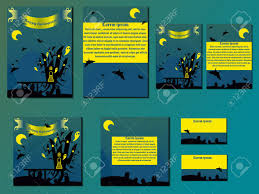 Halloween Business Cards Yellow And Blue Brochures And Business Cards With Halloween Castle
