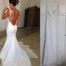 2017 backless wedding dresses lace spaghetti straps mermaid bridal