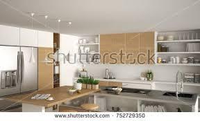 Modern Wooden Kitchen Wooden Details Close Stock Illustration