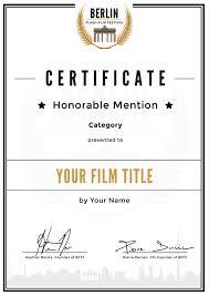 Honorable Mention Certificate Custom Honorable Mention Certificate Berlinflashfilmfestival Com