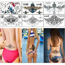 Sexy Chest Lower Back Tattoostemporary Tattoo Paper For Womenwaterproof Fake Tatoo Stickers 6 Sheets