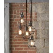 industrial chic lighting. Industrial Cage Work Light Chandelier Aged_iron Chic Lighting N
