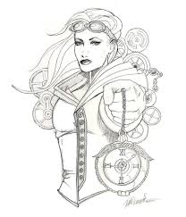 Steampunk Girls Coloring Pages for Adults | Adult Coloring Pages ...