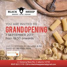 bar grand opening flyer grand opening black sheep jakarta