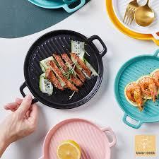 Khay nướng sứ tròn có vân - nhiều kích cỡ và màu sắc - dùng cho lò nướng,  vi sóng, đựng salad, decor bàn ăn cực đẹp chính hãng 85,000đ