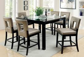 black finish pewter leatherette 7 pc counter height dining set ca3320f