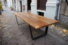 handmade oak dining room tables. solid oak table, large slab tabletop on steel u-frame legs, rustic live edge dining room furniture, handcrafted bespoke furniture handmade tables t