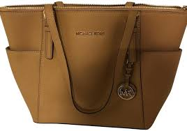 michael michael kors leather logo metallic hardware tote in acorn image 0