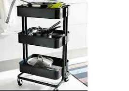 Image is loading IKEA-Raskog-kitchen-trolley-Black-kitchen-island-Storage-