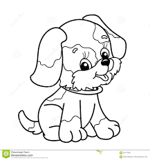 Coloring Page Outline Of Cartoon Dog Cute Puppy Sitting Pet
