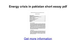 energy crisis in short essay pdf google docs