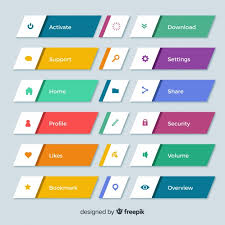 Button Design Colorful Web Design Button Collection With Flat Design