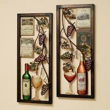 divine double square metal artworks wine and bottles kitchen wall decor hang on creamy wall painted ideas