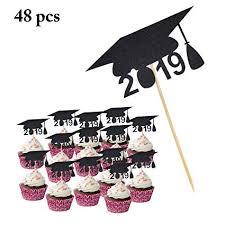 Amazoncom Graduation Cake Topper Coxeer 48pcs Cupcake Topper