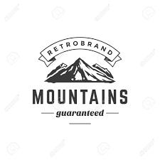 Vintage Logo Vector Mountain Vintage Logo Template Emblem High Rock Silhouette