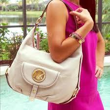 details about michael kors fulton large leather shoulder nwt 298 00 hobo bag vanilla gift