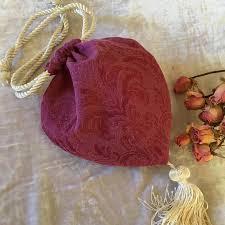 Handmade Raspberry Heart Shaped Drawstring Purse Reticule. | Etsy