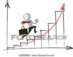 Simple Business People Exponential Growth Chart Clipart