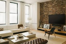 Image White Living Room Captivating Industrial Living Room Design Black Frame Window White Drapes White Brick Wall Renniefostercom Living Room Wonderful Industrial Living Room Design For Home