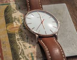 classic slim brown leather watch by brathwait