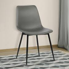 gray faux leather and black powder coated finish contemporary dining